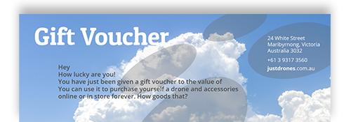 Just Drones Gift Voucher Promo Image